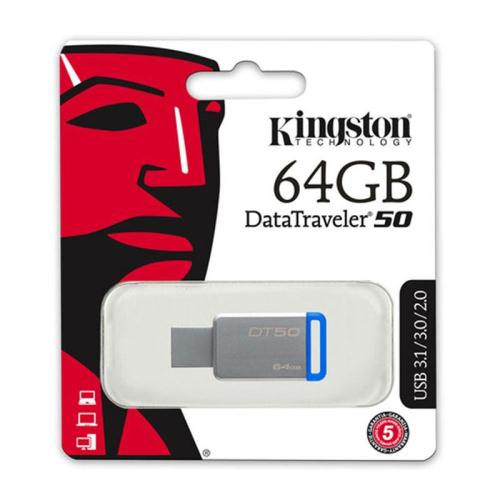 USB 3.1 Flash Disk Kingston DT50 64GB Ασημί-Μπλε (740617255751)