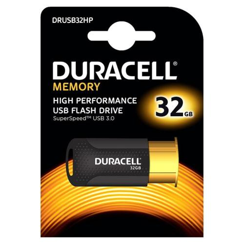 USB 3.1 Flash Disk Duracell High Performance 32GB Μαύρο-Χρυσό (5055190177266)