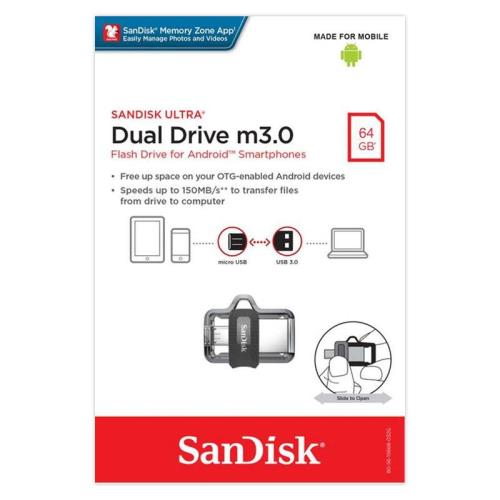 USB 3.0 Flash Disk SanDisk Ultra Dual Drive m3.0 SDDD3 OTG 64GB (619659149642)