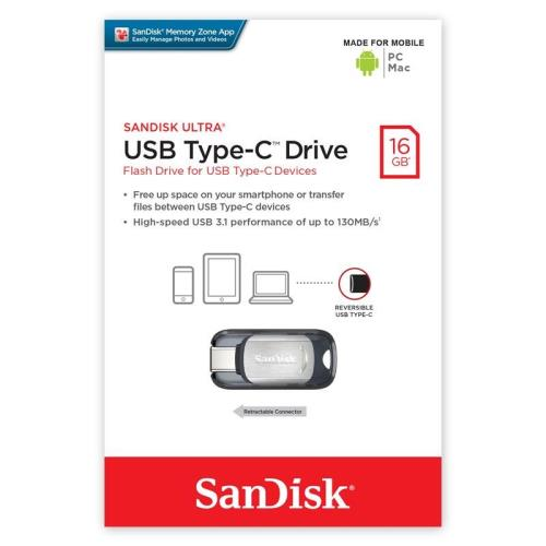 USB 3.1 Flash Disk SanDisk Ultra SDCZ450 USB C 16GB 130MB/s Γκρι (619659140328)