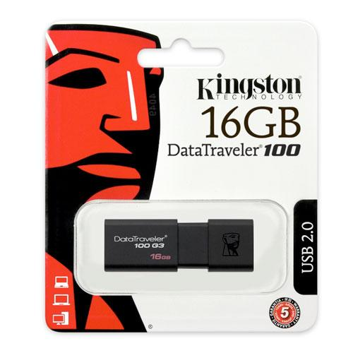USB 3.1 Flash Disk Kingston DT100 G3 16GB Μαύρο (740617211702)