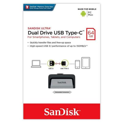 USB 3.1 Flash Disk SanDisk Dual Drive USB C 64GB 150 MB/s Ασημί (619659142056)