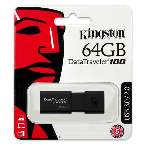 USB 3.0 Flash Disk Kingston DT100 G3 64GB Μαύρο (740617211726)