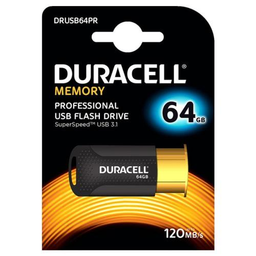 USB 3.1 Flash Disk Duracell Professional 64GB 120MB/s Μαύρο-Χρυσό (5055190177730)