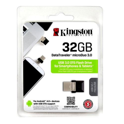 USB 3.0 Flash Disk Kingston DT Micro Duo 32GB Μαύρο (740617230789)