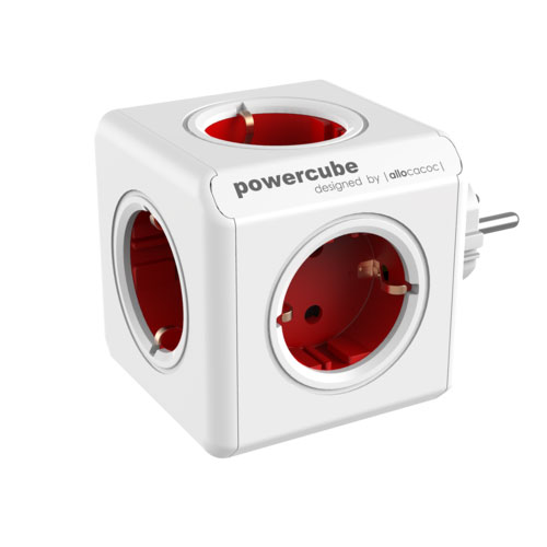 Allocacoc PowerCube Original Red | Πολύπριζο 5 Θέσεων