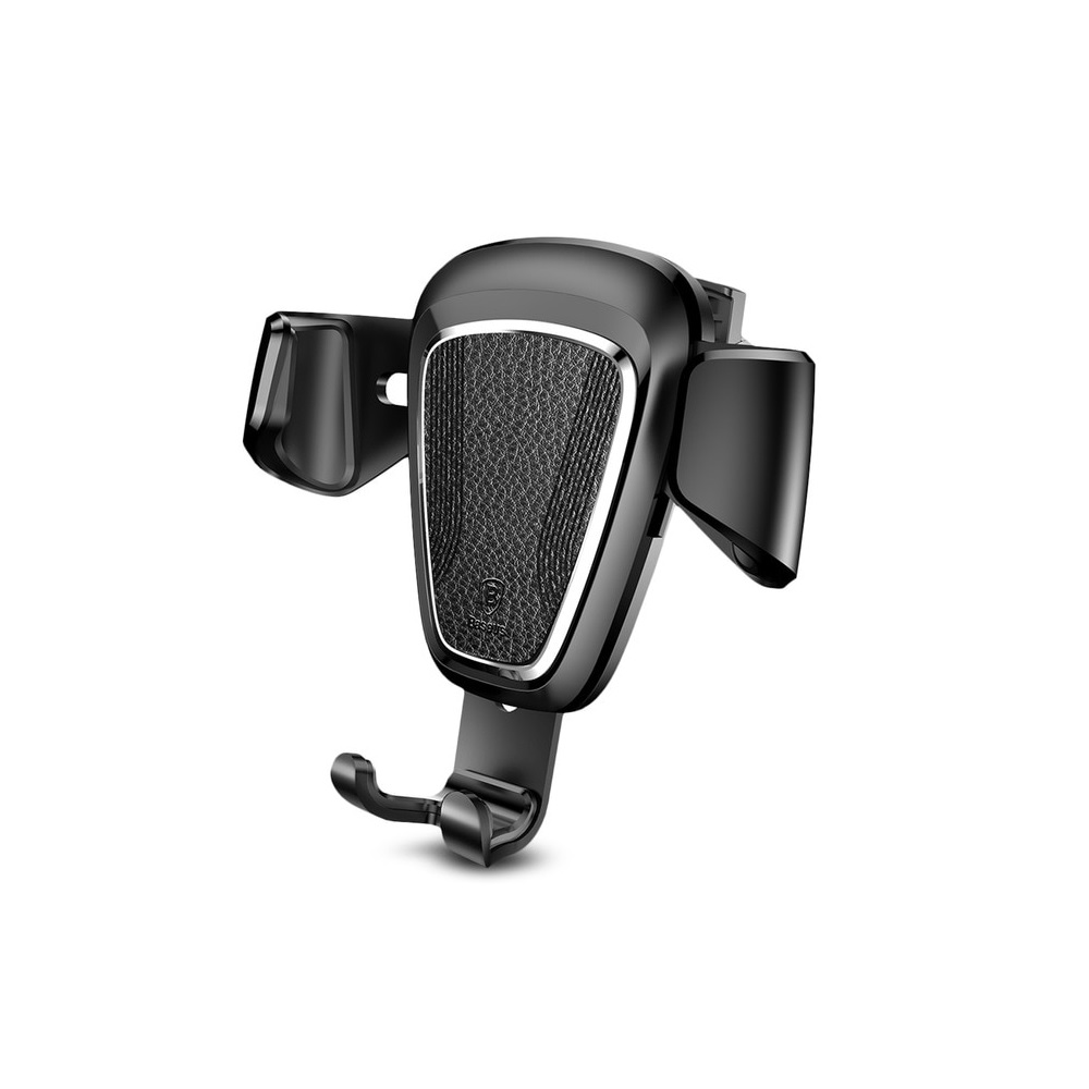 Baseus Leather Edition Gravity Car Mount SUYL-B01 Black | One-Hand Operation | Multi-Angle | Charging Hole | Φινίρισμα Δέρματος