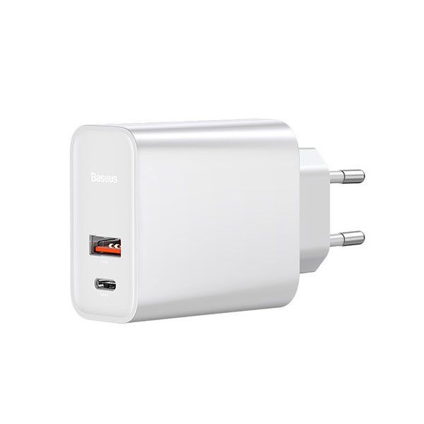Baseus BS-EU905 White Speed Dual PD3.0+QC3.0 USB & Type-C Quick Charger 30W