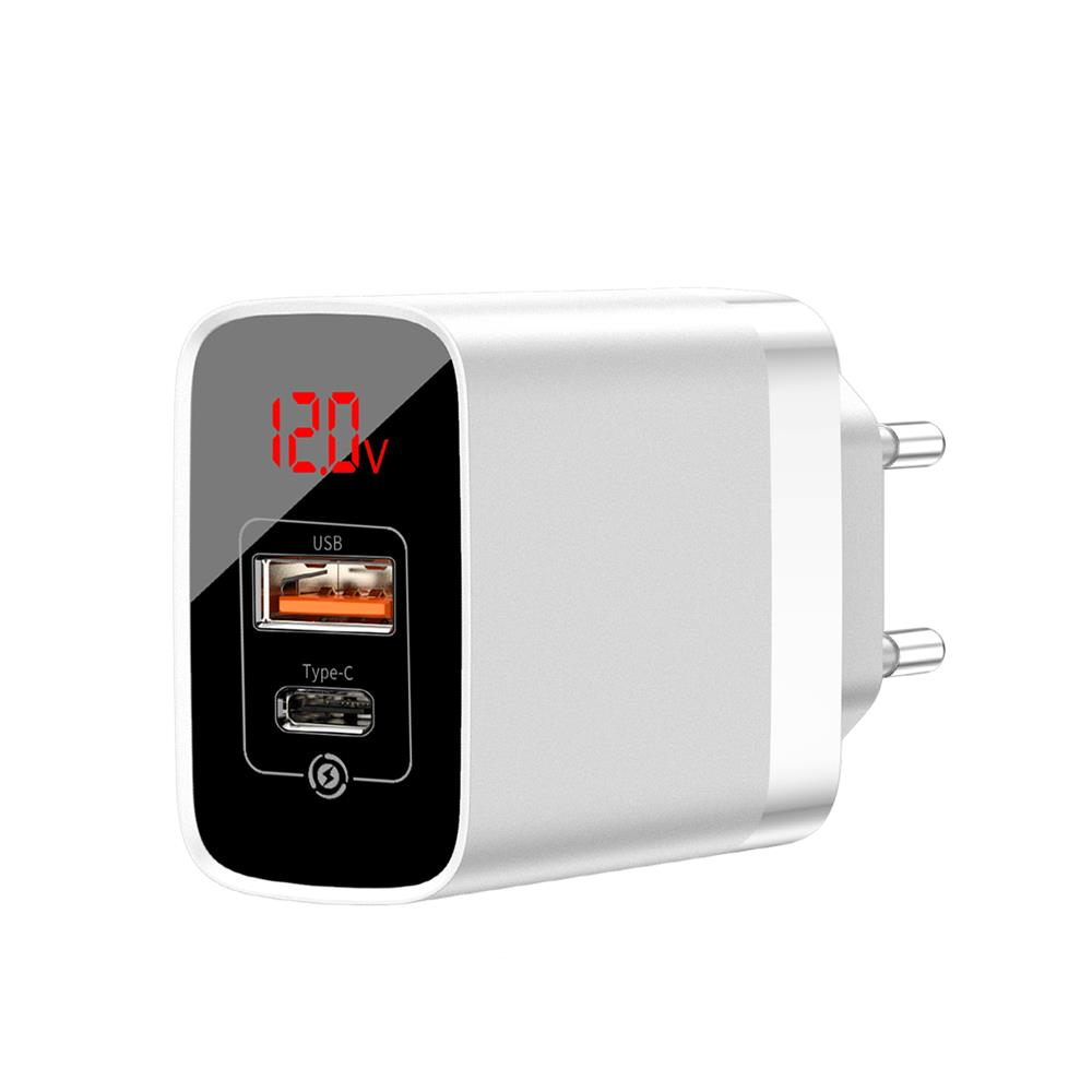 Baseus BS-E911 White Mirror Lake Speed Dual PD3.0+QC3.0 USB & Type-C Quick Charger 18W + Digital Display