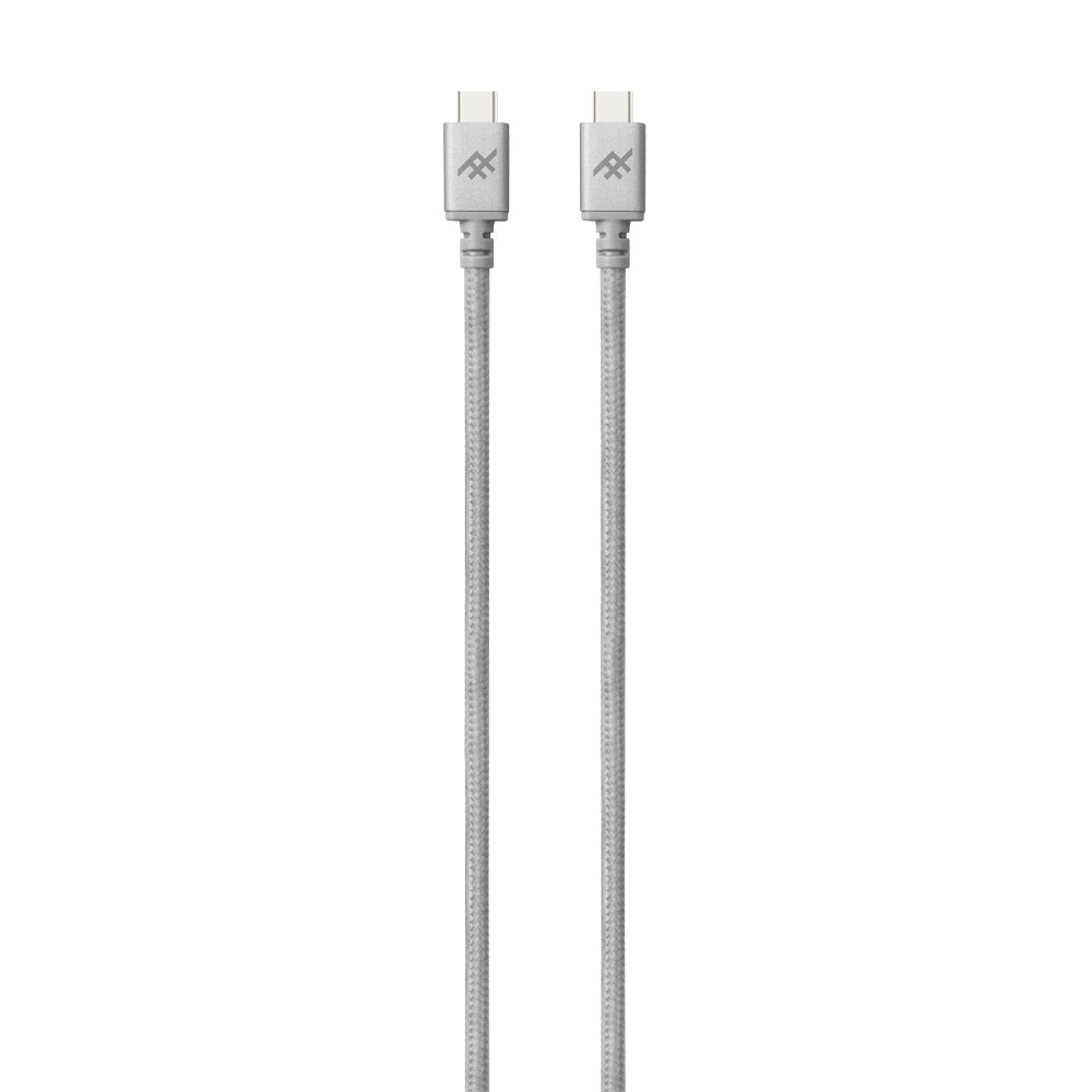 iFrogz UniqueSync Premium Charge/Sync Type-C to Type-C Cable 1m Silver: 3Amp Power Output + Durable Nylon Braided