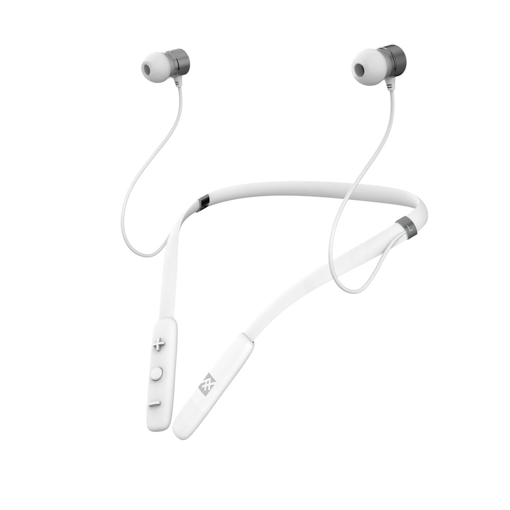 iFrogz Flex Arc Wireless Neckband Earbuds White: Around-the-Neck Bluetooth Earbuds + IPX-2 Sweat Proof