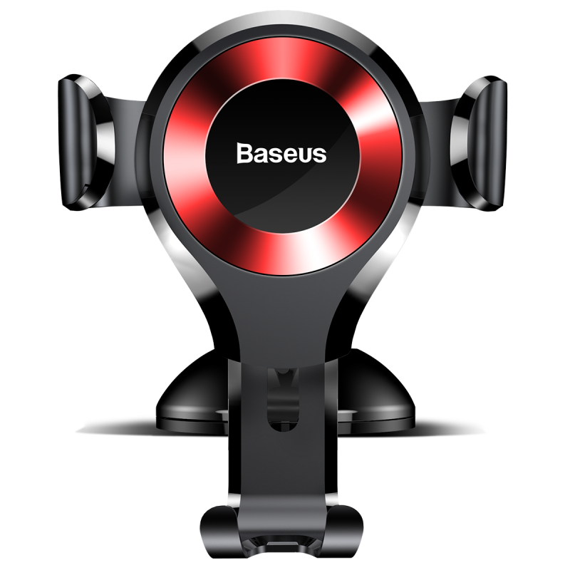 Baseus Osculum Type Gravity Car Mount Black/Red | One-Hand Operation | Multi-Angle | Charging Hole
