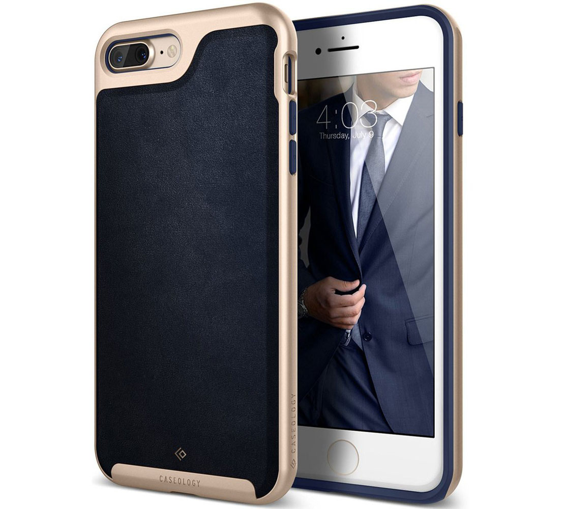 "Caseology Envoy Series Case για Apple iPhone 7 Plus (5.5"") Leather Navy Blue / Gold (Προστασία 360 μοίρες)"