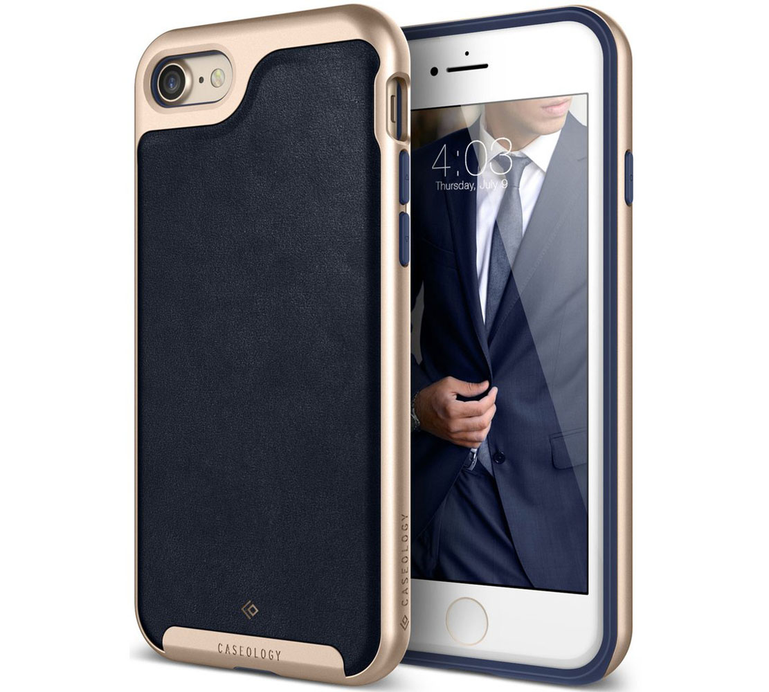 "Caseology Envoy Series Case για Apple iPhone 7 & 8 (4.7"") Leather Navy Blue / Gold (Προστασία 360 μοίρες)"