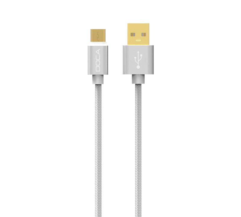 Doca D-U101C Silver USB --> Type-C Quick Charge & Data Cable 1m (Fast Charge + Fast Speed + Ανθεκτική κατασκευή πλεξούδας)