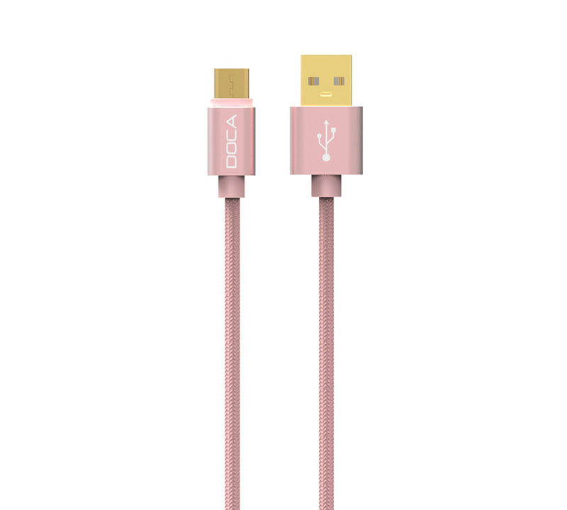 Doca D-U101C Rose Gold USB --> Type-C Quick Charge & Data Cable 1m (Fast Charge + Fast Speed + Ανθεκτική κατασκευή πλεξούδας)