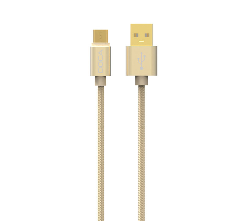 Doca D-U101C Gold USB --> Type-C Quick Charge & Data Cable 1m (Fast Charge + Fast Speed + Ανθεκτική κατασκευή πλεξούδας)