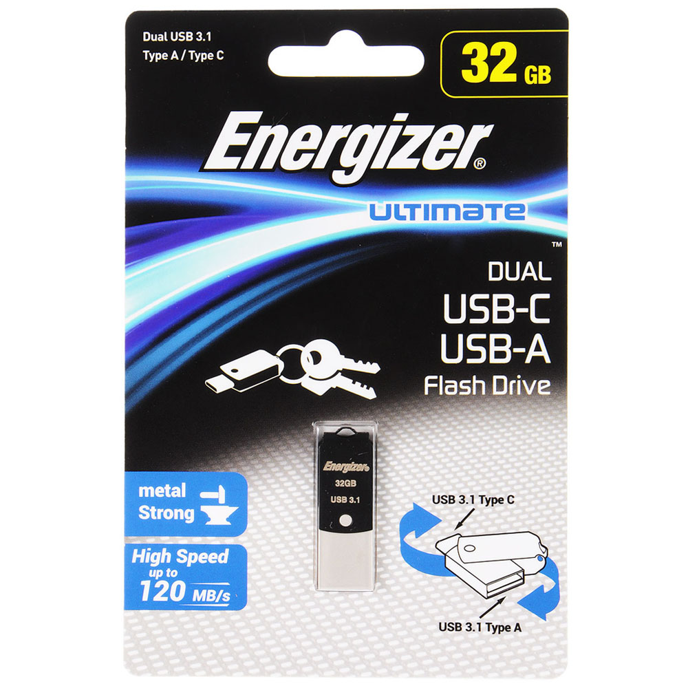 Energizer Ultimate Dual USB 3.1 Flash Drive 32GB (USB + Type-C) FOTUCUO32R | USB + Type-C | High Speed up to 120MB/s