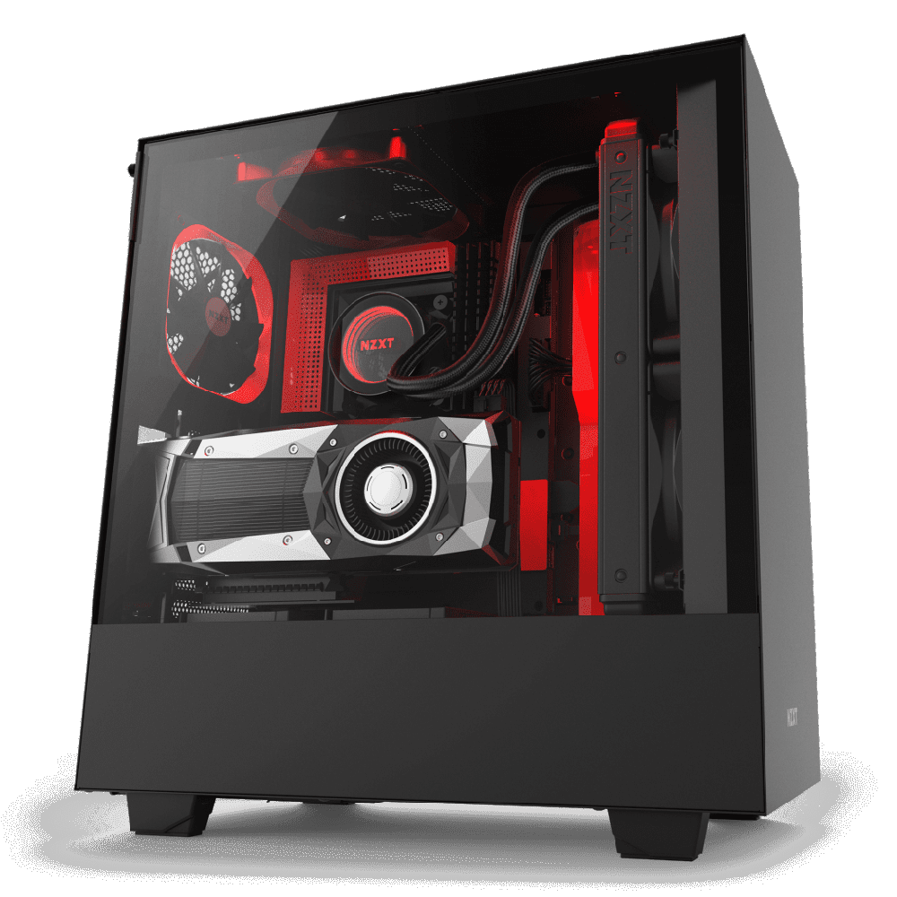 NZXT H500i Matte Black/Red - Tempered Glass - RGB-Smart Device (5060301694112)
