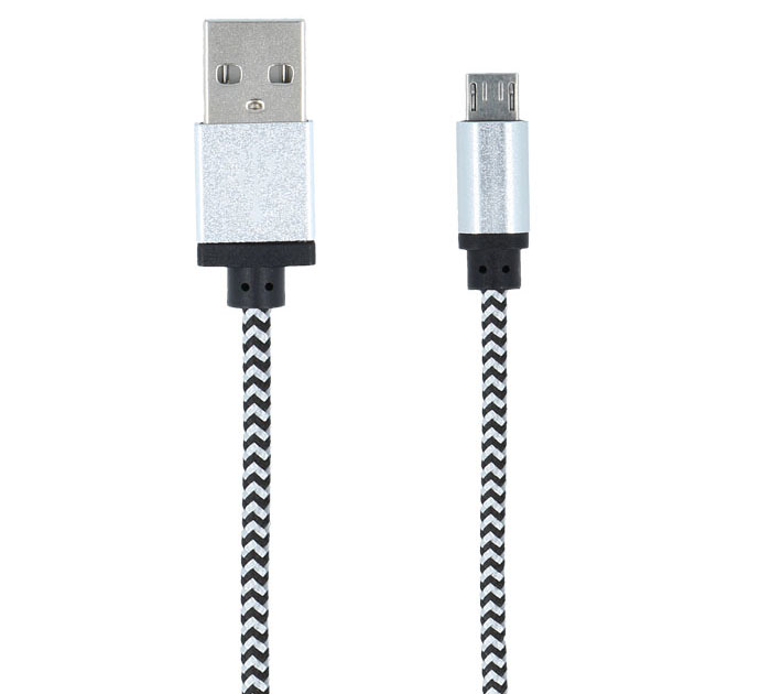 Forever Braided White USB --> microUSB Data Transfer & Charging Cable 1m (Tangle Free κατασκευή πλεξούδας!)