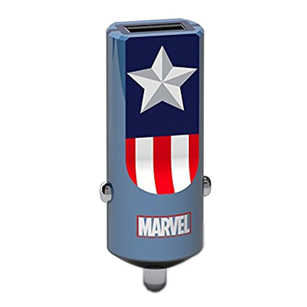 Tribe Marvel Captain America Car Charger | 1 x USB @ 2.4A | Fast Charge | Tablets & Smartphones