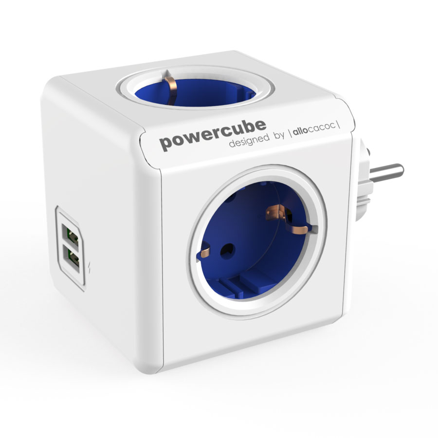 Allocacoc PowerCube Original USB Blue | Πολύπριζο 4 Θέσεων + 2 x USB @ 2.1A