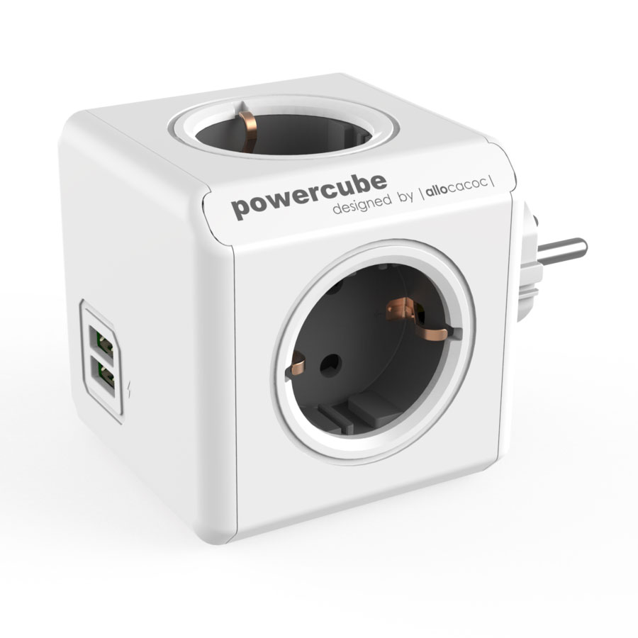 Allocacoc PowerCube Original USB Grey | Πολύπριζο 4 Θέσεων + 2 x USB @ 2.1A