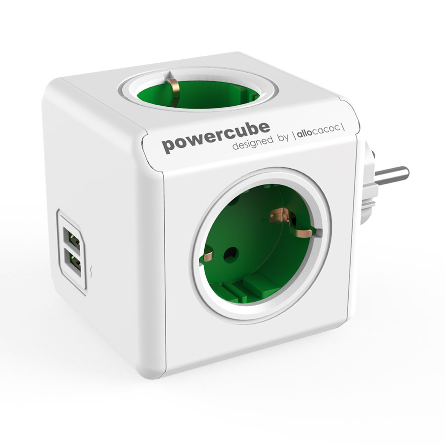 Allocacoc PowerCube Original USB Green | Πολύπριζο 4 Θέσεων + 2 x USB @ 2.1A