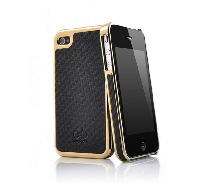 Quadocta Carboneum Ultra Slim Case για Apple iPhone 4 / 4S Black/Gold
