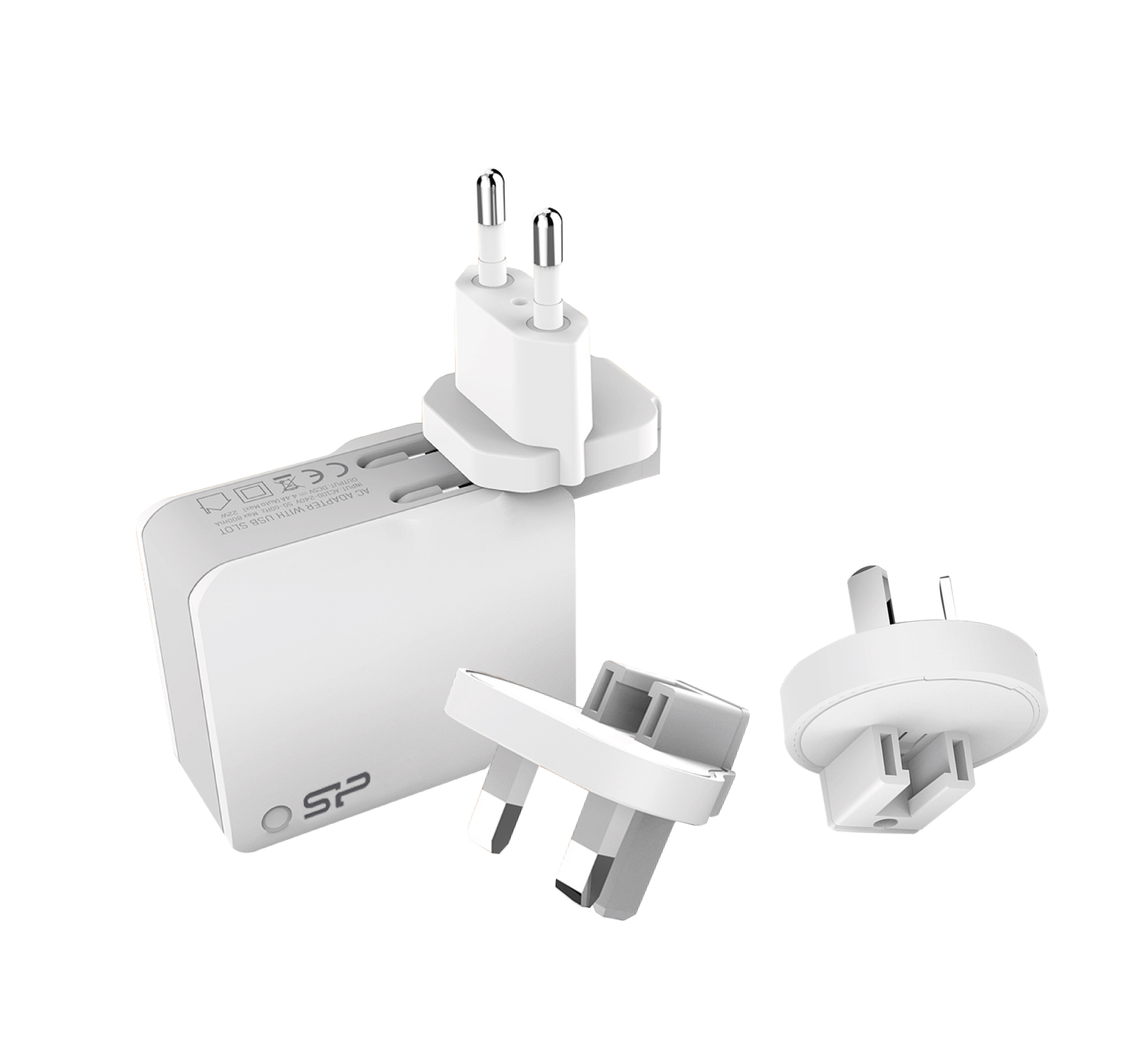 Silicon Power Boost Charger WC102P 2-port USB Travel Charger @ 2.4A + Adapters US/UK/AU/EU