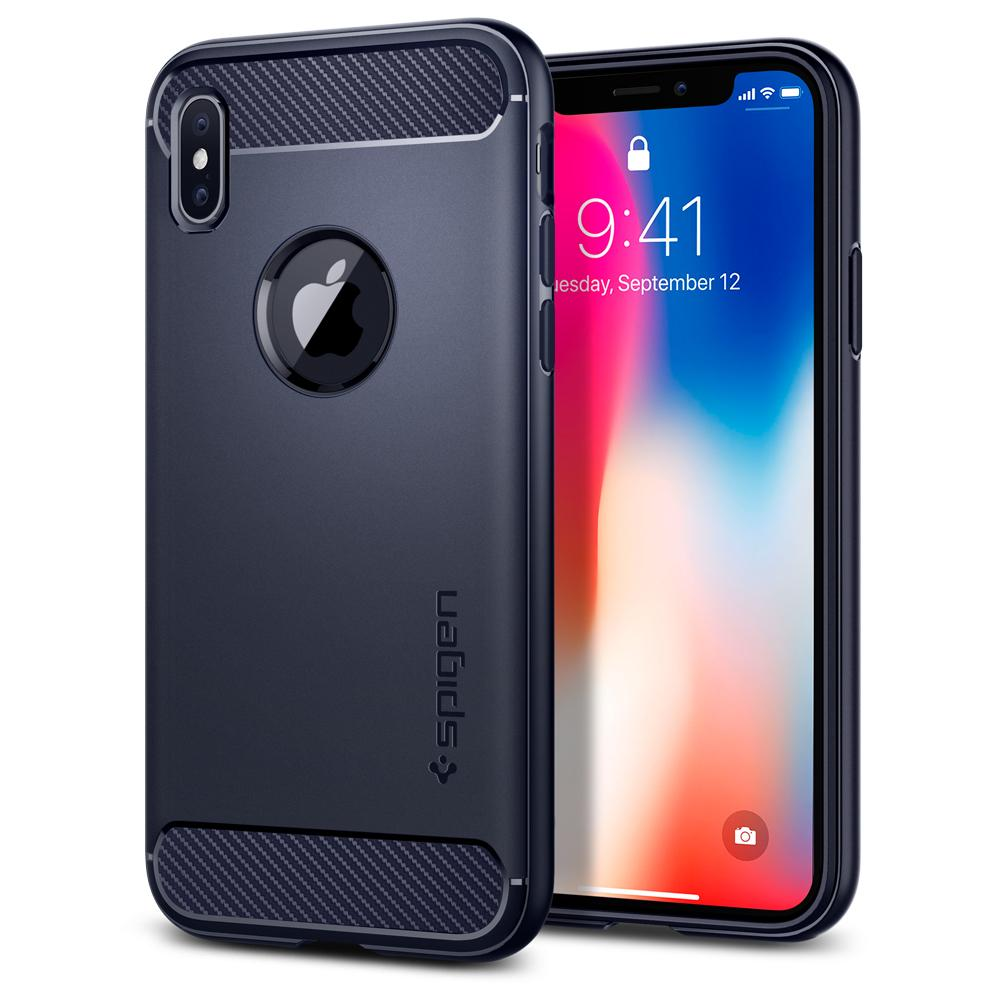 "Spigen (SGP-057CS22126) Case Rugged Armor για Apple iPhone X (5.8"") Midnight Blue"