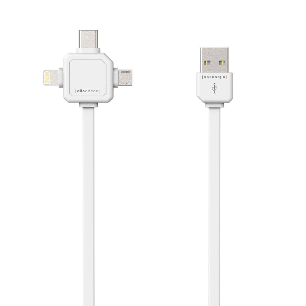 Allocacoc USBcable White |3 in 1| Charge & Sync Cable για συσκευές με microUSB, Type-C & Apple Lighting
