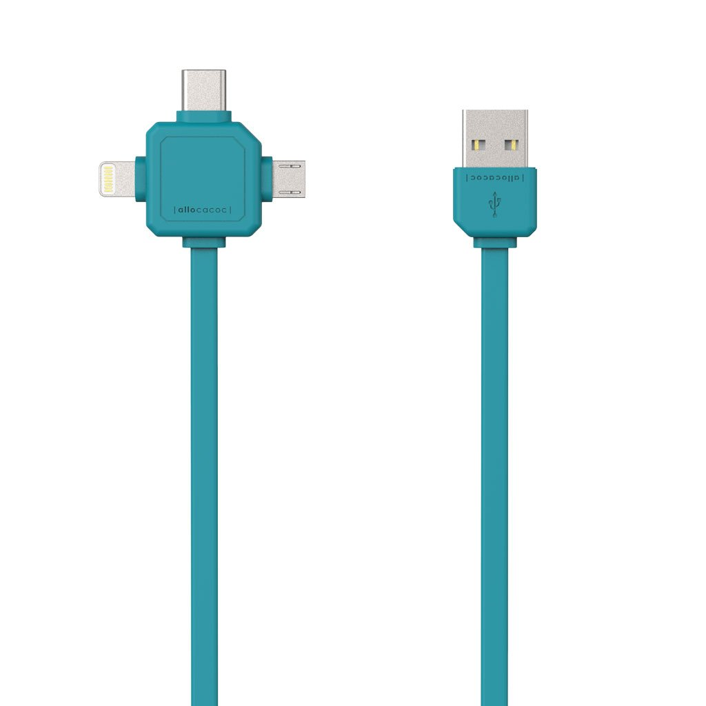Allocacoc USBcable Blue |3 in 1| Charge & Sync Cable για συσκευές με microUSB, Type-C & Apple Lighting