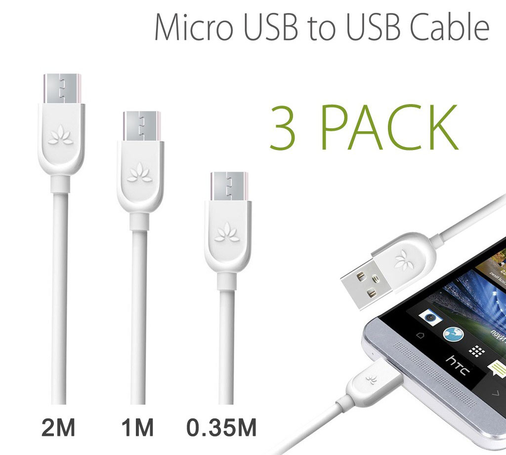 Avantree SET10 [3-pack] USB --> microUSB Sync & Charge Cables 35cm + 1m + 2m
