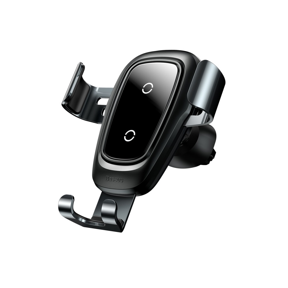 Baseus Metal Wireless Charger & Gravity Car Mount Black | One-Hand Operation | Multi-Angle | Charging Hole | Ασύρματη Φόρτιση