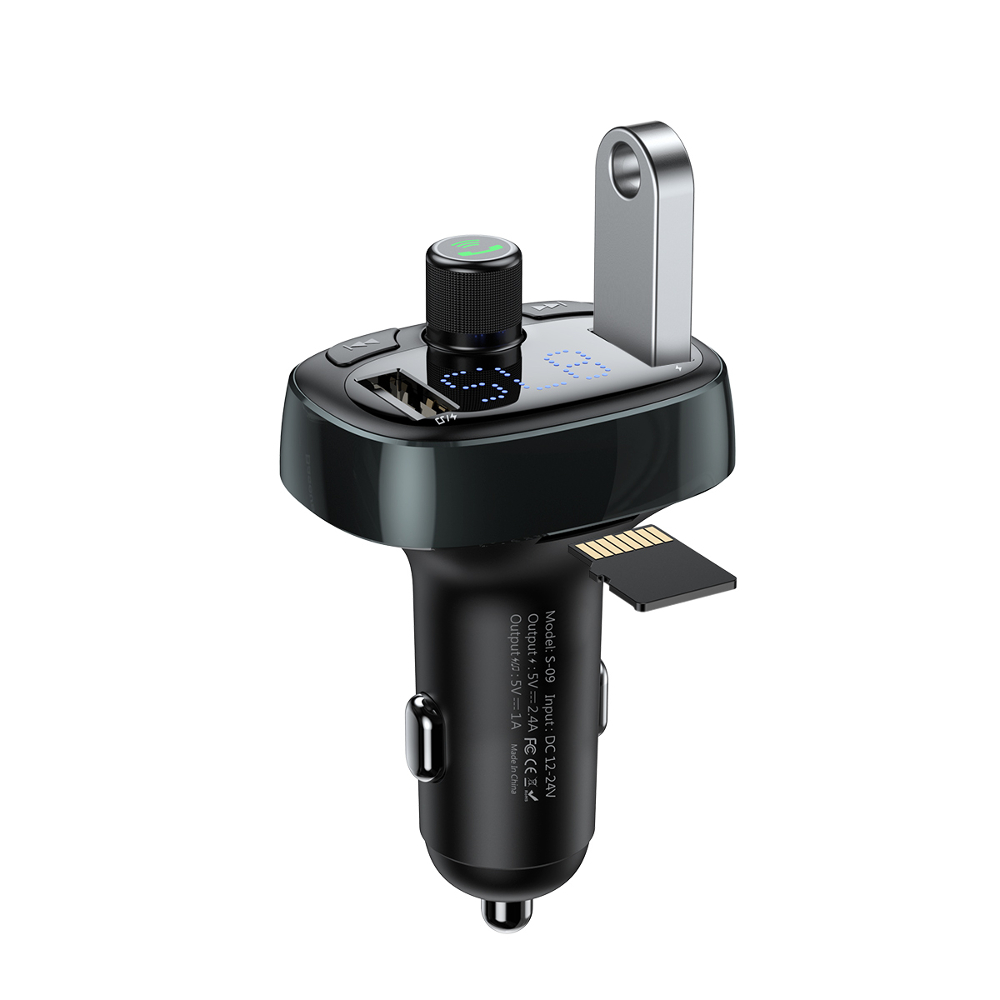 Baseus S-09 T-typed Black: Dual USB Car Charger 3.4A + FM Transmitter + Bluetooth Car Kit (Φορτίστε, Ακούστε, Μιλήστε)