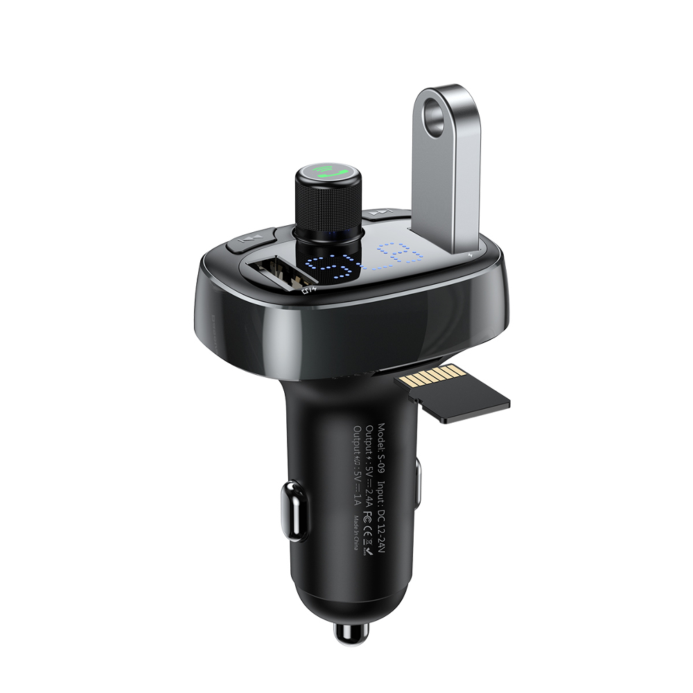 Baseus S-09 T-typed Tarnish: Dual USB Car Charger 3.4A + FM Transmitter + Bluetooth Car Kit (Φορτίστε, Ακούστε, Μιλήστε)