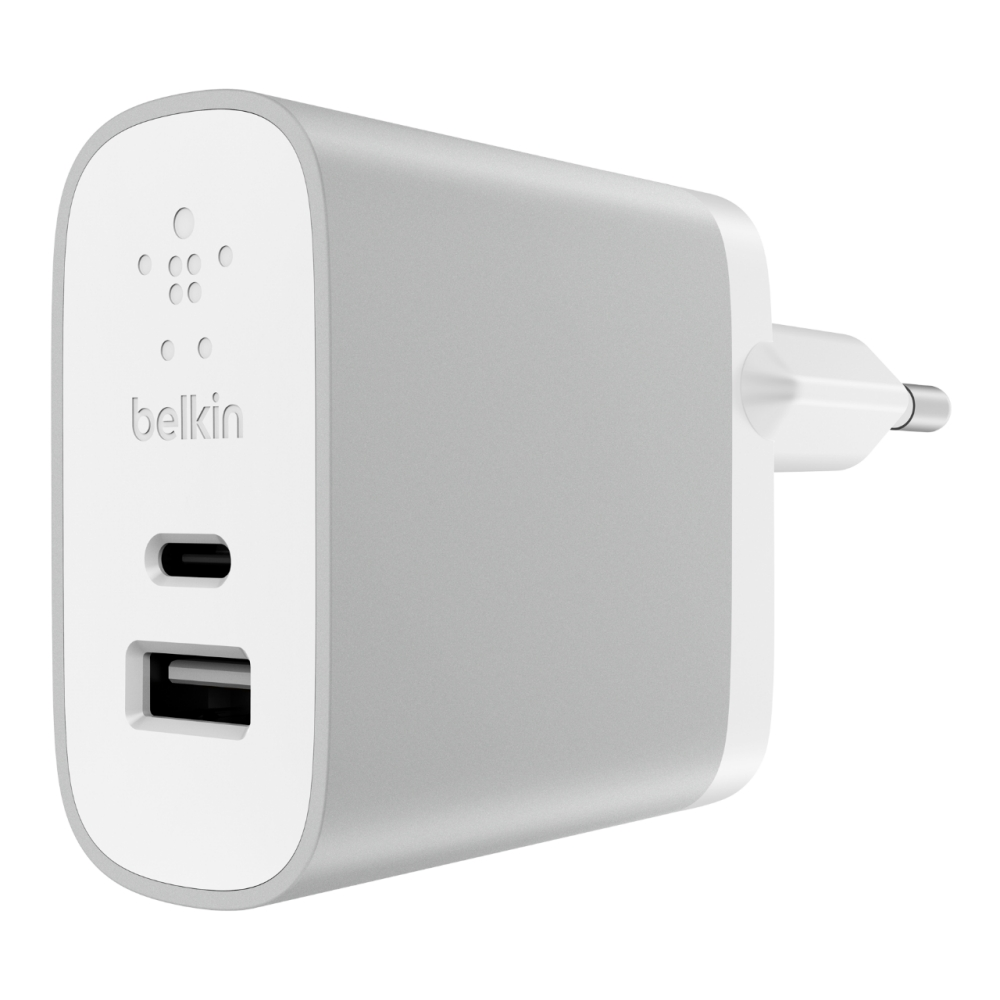 Belkin F7U011vfSLV Type-C (USB-C) + USB Wall Charger 27W | FastCharge | 50% Faster