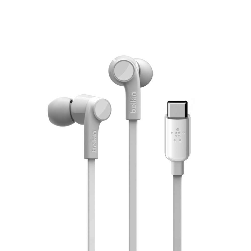 Belkin G3H0002btWHT ROCKSTAR Headphones with Type-C (USB-C)  Connector + Flat Cable + Splashproof