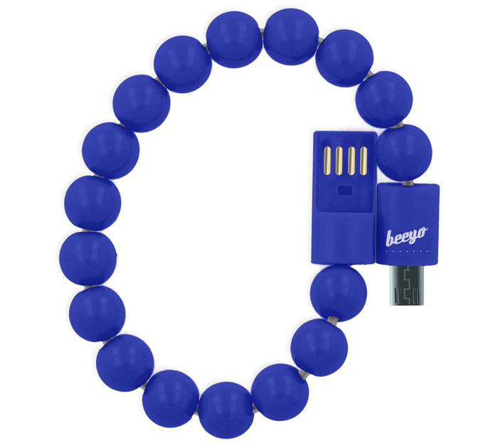 Beeyo Blue microUSB Sync & Charge Cable (24cm) Fashion Bracelet (microUSB καλώδιο...βραχιόλι!)