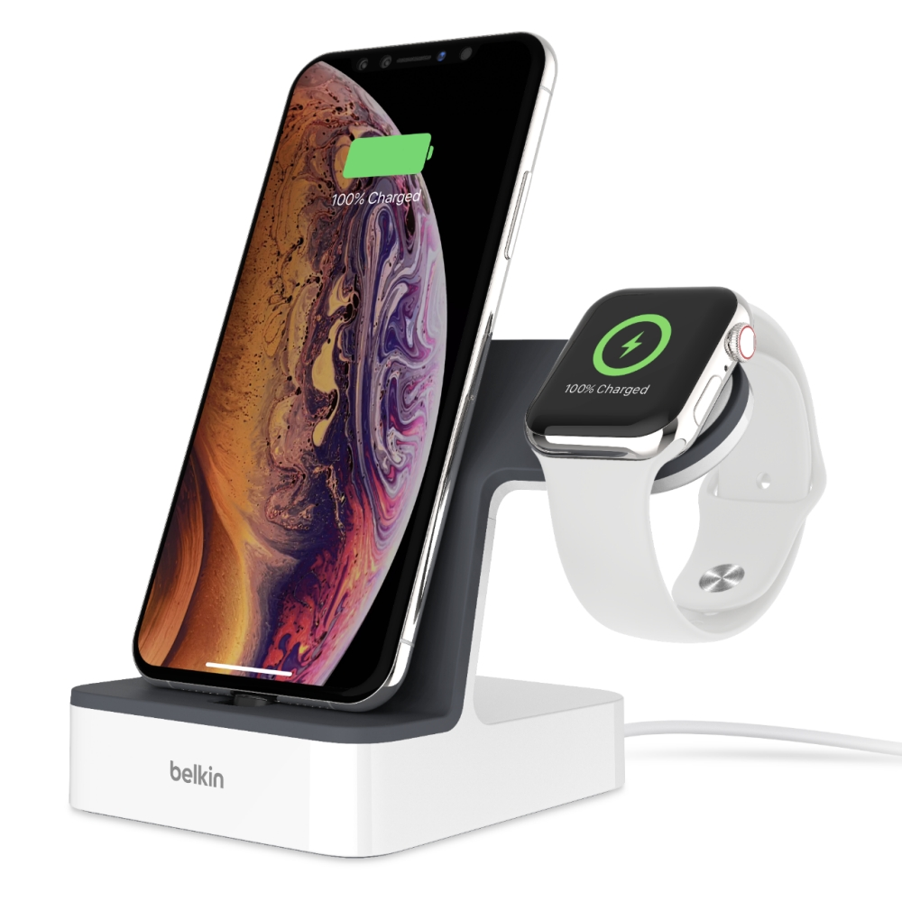 Belkin F8J237vfWHT 2in1 PowerHouse Charge Dock (φόρτιση και συγχρονισμός) για Apple iPhone & Apple Watch (White)
