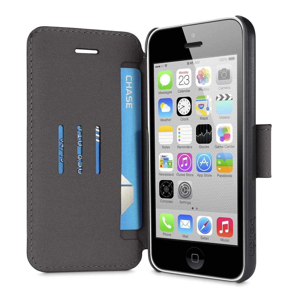 Belkin Wallet Folio With Stand Cover Case για iPhone 5/5S/SE/5c (F8W378B1C00) Black