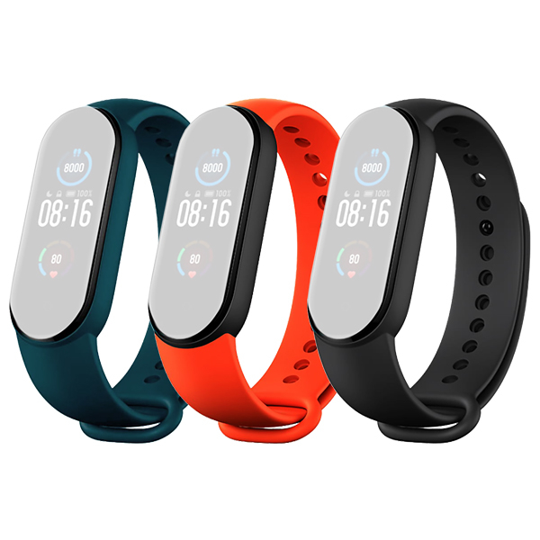 Xiaomi Mi Band 5 Original Strap Black/Orange/Dark Green (3-Pack)