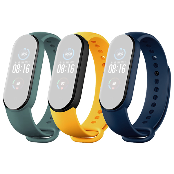 Xiaomi Mi Band 5 Original Strap Blue/Yellow/Mint Green (3-Pack)