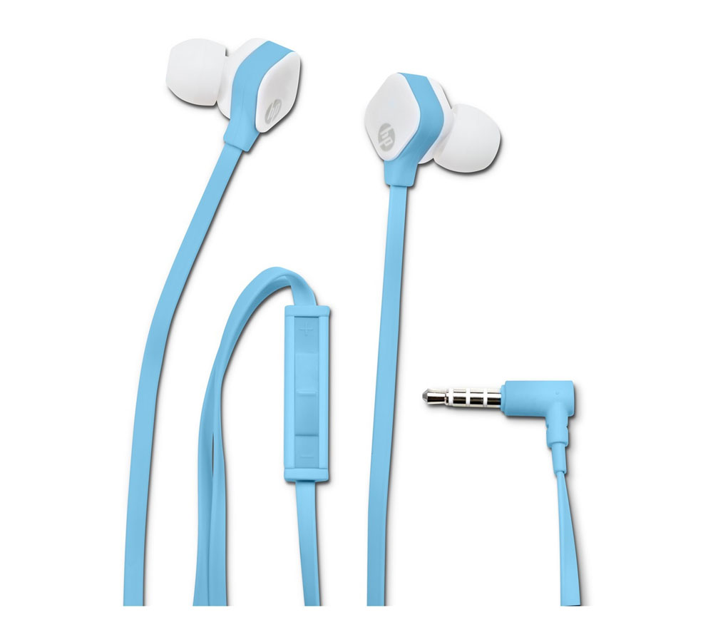 HP H2310 Sky Blue In-Ear Stereo Headset & Handsfree M2J39AA (Flat Cable + High Performance Microphone + Clean Audio)