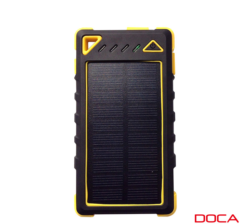 Doca D-S8000 Yellow Power Bank 8000mAh | 2 x USB @ 3.1Α + Solar Panel + Φακός (20 x LED @ 5W) + Ανιχνευτής Πλαστών + Waterproof