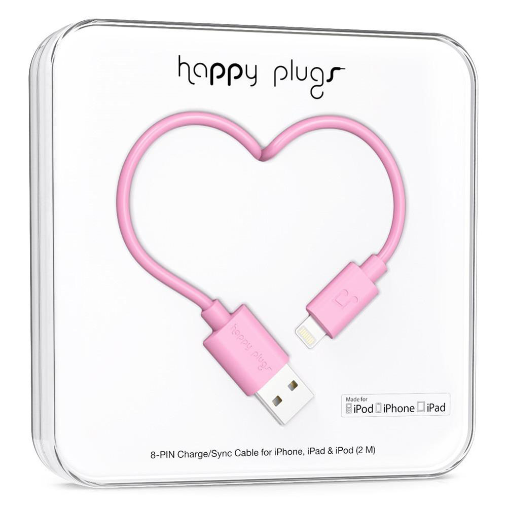 Happy Plugs Charge & Sync Lightning Cable 2m Pink με MFI πιστοποίηση!