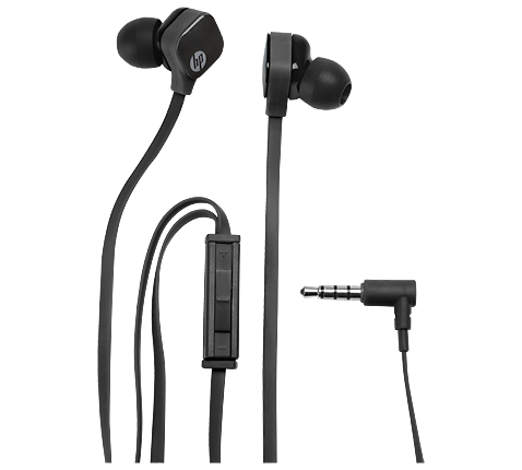 HP H2310 Sparkling Black In-Ear Stereo Headset & Handsfree J8H42AA (Flat Cable + High Performance Microphone + Clean Audio)