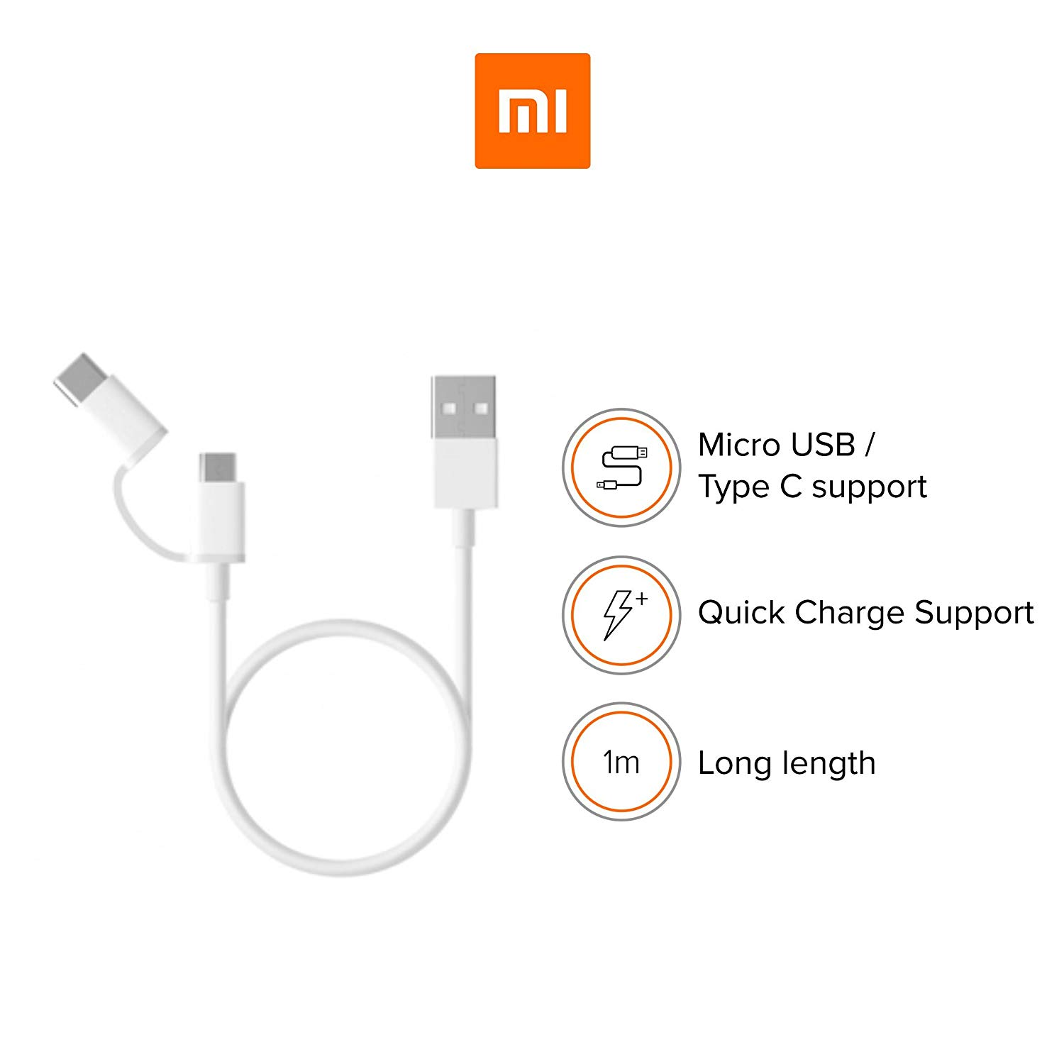 Xiaomi Mi 2-in-1 Charge & Data USB Cable 100cm για συσκευές με microUSB & Type-C θύρα