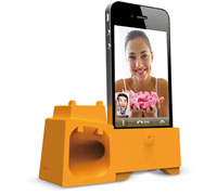Ozaki O!music Zoo Eco-friendly Speaker for iPhone 4 & 4s Orange Hippo (Stand & Amplifier)